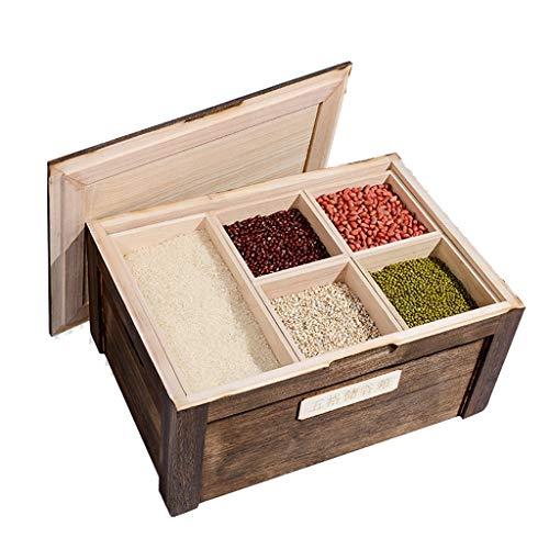 Armoire à riz Cuisine Boîte à riz Boîte de rangement Multigrain Cylindre en bois massif résistant aux insectes et à l'humidité Boîtes alimentaires ( Color : Brown , Size : 50*35*23.5cm/20*13*9inch )