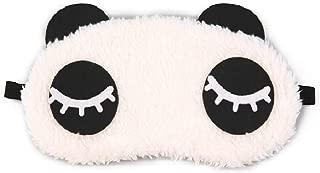 Awestuffs Panda Sleeping Plush Nap Eye Shade Cartoon Blindfold Long Eyelashes Sleep Cover Travel Rest Patch Mask (White, 18 x 11 cm)