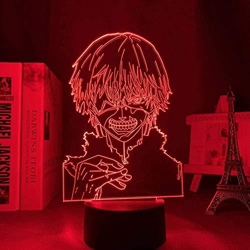 Lâmpada de ilusão LED 3D Luz noturna Usb Anime Tokyo Ghost Ken Kaneki Decoração do quarto Aniversário Presente Acrílico Tokyo Ghost-16 cores com controle remoto