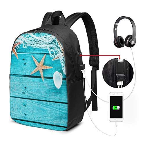 JOJOshop zeeschelpen en zeester op houten planken 17 inch rugzak met USB opladen poort en hoofdtelefoon interface voor college student