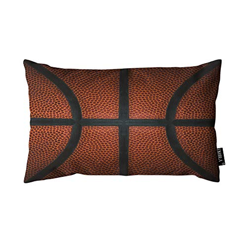 EKOBLA Throw Pillow Cover Basketball Game Leather Texture Spot Sport Cool Design Red Black Rectangular Throw Pillow Covers for Couch Sofa Home Decor Cotton Linen 12x20 Inch