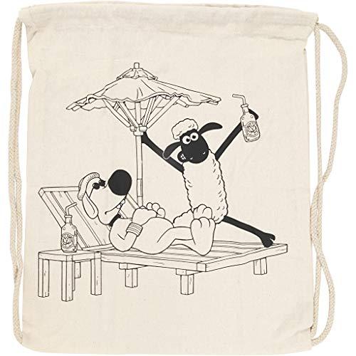 Creative 499654 Tasche mit Kordelzug, Shaun das Schaf und Bitzer, Größe 37 x 40 cm