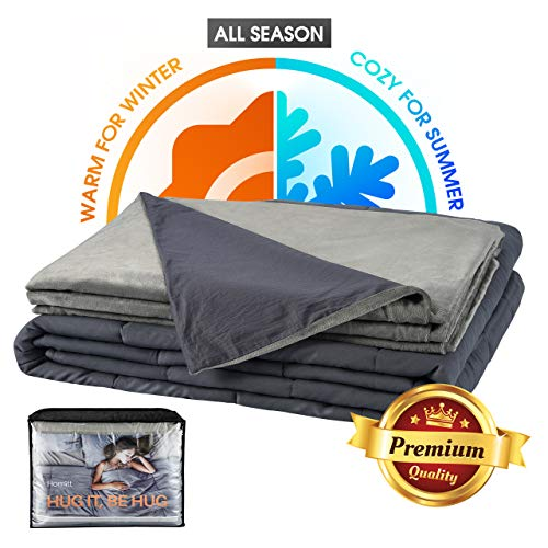 """Homitt Weighted Blanket with Removable Cover (60"""" 85"""", 15lbs, Queen Size) 100% Breathable Cotton Heavy Blanket with Advanced N ano-Ceramic Beads, Best Gift for Adult and Kids"""