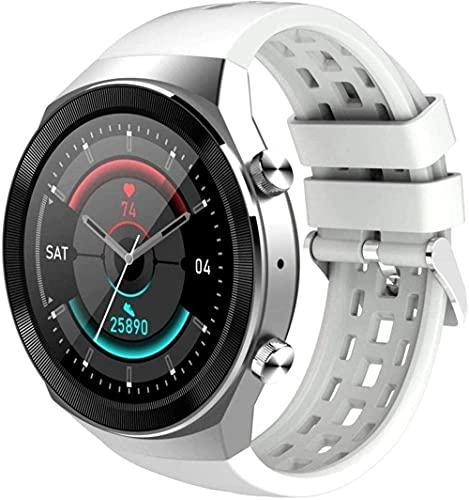 hwbq Reloj Inteligente de 1.3 pulgadas de alta definición IPS Full Touch pantalla de color de espera larga llamada Bluetooth reloj Multi-Dial Monitoreo del sueño Pulsera deportiva-Blanco