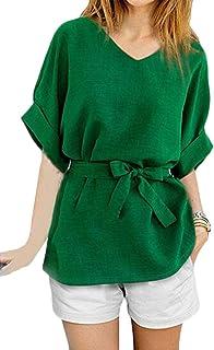 OTW Womens V Neck Cotton Linen Solid Color Plus Size Short Sleeve Tunic T-Shirt Blouse Top