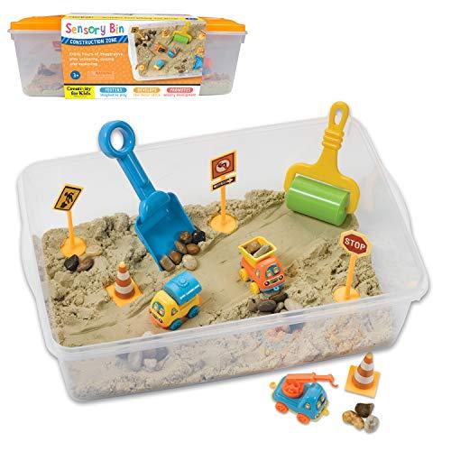Creativity for Kids Sensory Bin: Construction Zone Playset - Sandbox Truck Toys for Kids