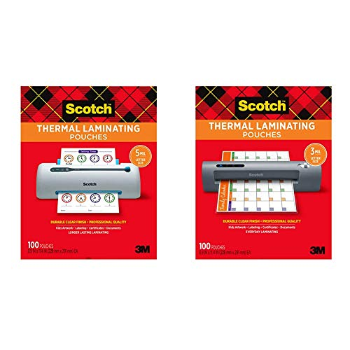 Scotch Thermal Laminating Pouches, 5 Mil Thick, 100-Pack, 8.9 x 11.4 inches, Letter Size, Clear (TP5854-100) & Thermal Laminating Pouches, 100-Pack, 8.9 x 11.4 Inches, Letter Size Sheets (TP3854-100)