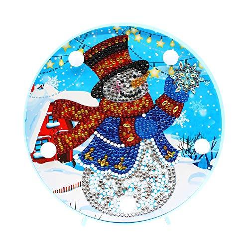 Domybest Schneemann Weihnachten DIY 5D Diamond Painting Komplett mit LED-Lampe warmweiß Nachtlicht Kinder Tischlampe batteriebetrieben dekorative Lampe für Schlafzimmer Wohnzimmer
