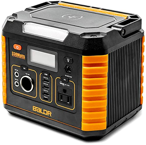 BALDR Portable Power Station 330W, Portable Solar Generators for home use, Emergency Lithium Battery with QC3.0 & Type C, 110V AC Outlet for Outdoor RV Camping Travel