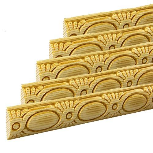 Zierleiste Schnitzleiste Prägeleiste 1000 x 24 x 7 mm Kiefer Massivholz natur unbehandelt   Modell: PL2407   5-er Pack   Abschlussleisten Bastelleisten Holz-Stuckleisten Möbelleisten