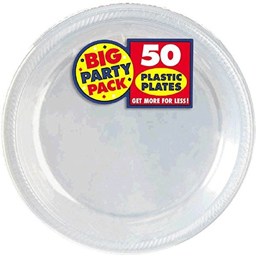amscan 630730.86 Big Party Pack Plastic Plate, Clear Plate, plastic, kleurloos