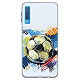 BJJ SHOP Funda Transparente para [ Samsung Galaxy A7 2018 ], Carcasa de Silicona Flexible TPU, diseño: Pelota de Futbol Abstracto
