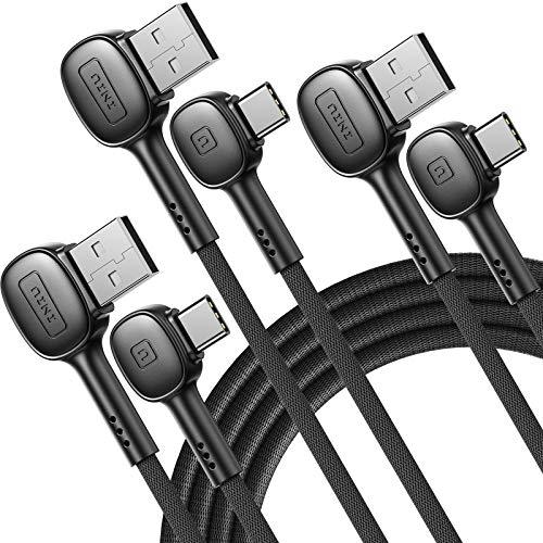 INIU USB C CABLE, 90 ° [0.5 + 2 + 2M] 3.1A QA3.0 USB C Tipo Cable de datos trenzado de nylon de carga rápida para Samsung S20 S10 Nota Huawei LG, etc.