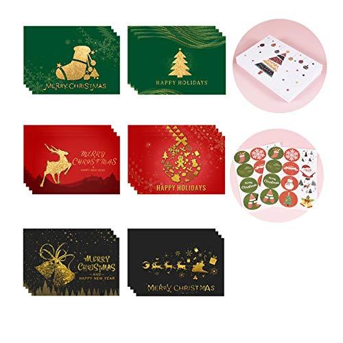 Cxssxling - Tarjetas de Navidad con sobres y pegatinas personalizadas, tarjetas postales de Navidad, tarjetas plegables, tarjetas de felicitación en blanco