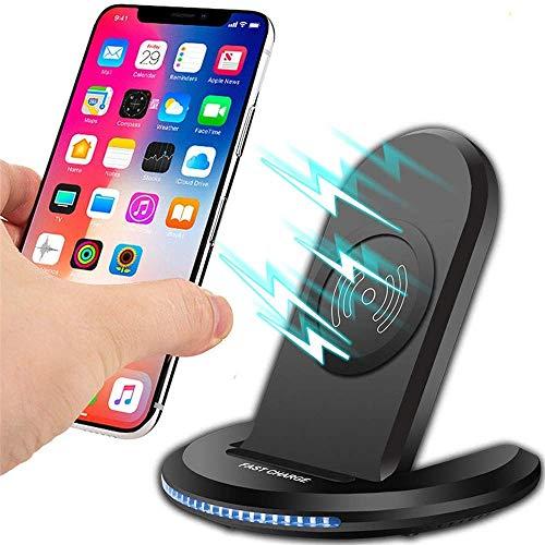 MRTYU-UY Cargador inalámbrico para iPhone X 8 XS MAX XR para Samsung Note 9 S9 S8 Plus Base de Carga inalámbrica rápida Almohadilla para teléfono móvil