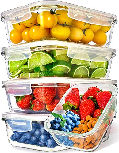 Recipientes para Alimentos [5 Pieza 1000 ml] - Recipientes de Cristal para Alimentos Hermético - Juego de Recipientes de Cristal Apto para Lavavajilla Microondas Congelador