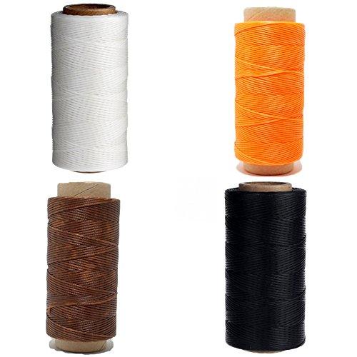 4x Bobinas de Hilo Encerado de Poliester para Coser Cuero especial Guarnicionero Color Marron Claro Naranja Blanco y Negro 4357