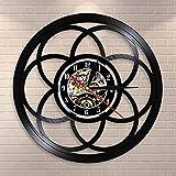 BFMBCHDJ Fleur de Vie géométrique Design Moderne Horloge Murale géométrie sacrée Home Decor Montre Graine de Vie Vintage Vinyle Record Horloge Murale