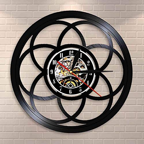 wtnhz LED-Flor de la Vida Reloj de Pared de diseño Moderno geométrico Geometría Sagrada Decoración del hogar Reloj Semilla de la Vida Reloj de Pared de Vinilo Vintage