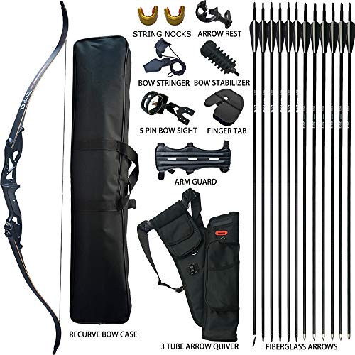D&Q Hunting Recurve Bow and Arrow Set for Adults Kit Archery Hunting Shooting Target Practice Competition Survival Takedown Longbow Package 30 35 40 45 50 lbs Right Handed with Bow Case Stringer Arrow