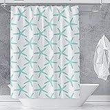 VEGA U Beach Starfish Shower Curtain for Bathroom, Nautical Bath Decor with Hooks, Hotel Quality, 72x72 Inch, Blue and White (Blue)
