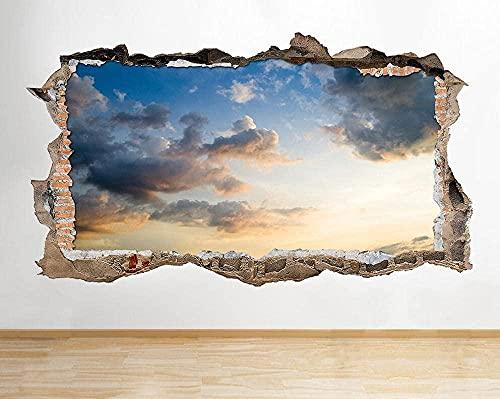 Pegatinas de pared Sunset naranja azul gris roto pared calcomanía 3D arte pegatinas vinilo habitación - 60x90cm
