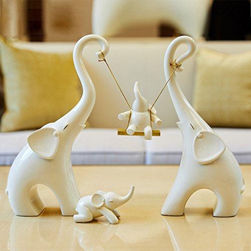 Dongyd 4 Piezas Adornos De Elefante Blanco, Creativa Sala De Estar Dormitorio Resina Decorativa Elefante Elefante Artesanías