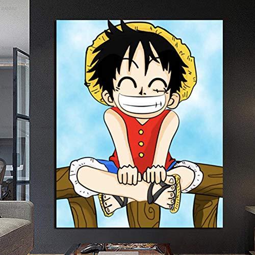 FPUYB 1000 Piezas de Gran tamaño 75x50cm RIC Style IME One Piece Luffy Acuarela quaro cuarErwachsene Puzzle Holzpuzzle Klassische 3D-Puzzlesammlung Moderne Heimdekoration