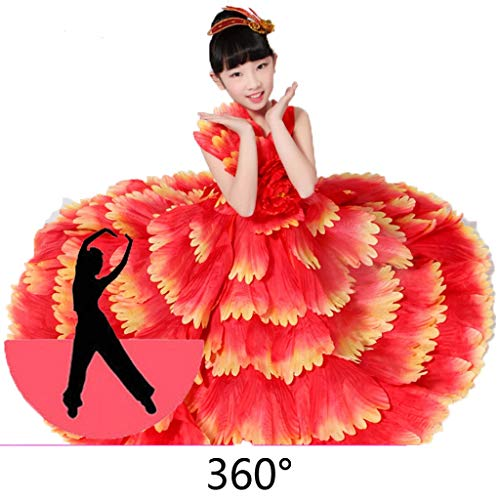 Pétales de Danse Costume-Girl Big Dress Swing Chorus Spanish Performance Opening (Couleur : Red, Taille : 540°-100)
