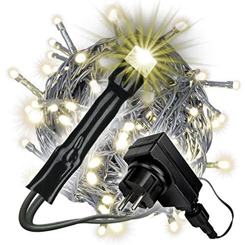 200 LED Lichterkette mit Trafo + Timer dimmbar 6 Funktionen Fernbedienung warm-weiß grünes Kabel Weihnachtsdeko Funktionslichterkette