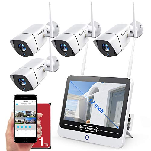 Wireless Camera System with Monitor,Firstrend 1080P Security Camera System Wireless 8CH with 4PCS 1080P WiFi Indoor Outdoor IP Cameras Night Vision Motion Detection 12 Inch Monitor with 1TB Hard Drive