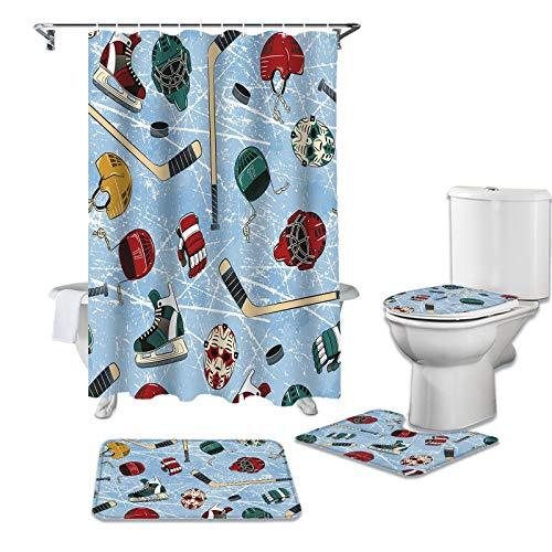 BANLV Retro abstracte hockeyschoenen, douchegordijnensets, antislip vloerkleden, toiletdeksel en badmat, waterdichte badgordijnen