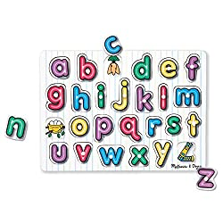 EASY-TO-GRASP PUZZLE: This wooden puzzle includes 26 pieces for letters A through Z, with easy-grasp pegs that reveal a picture under each piece. FULL-COLOUR PICTURES: Designed with full-colour illustrations that appear underneath each piece to help ...