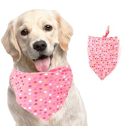 KK KEWLKIT Valentinstag Hundehalstuch – waschbares Halstuch mit Herz-Aufdruck, doppeltes wendbares Halstuch, verstellbar, wendbar, waschbar und verstellbar für Hunde und Katzen, Rose