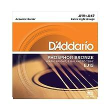 Juego de cuerdas para guitarra acústica Hechas de material de bronce de fósforo Producen un tono acústico cálido, brillante y buen equilibrado Tamaño: .010-.047