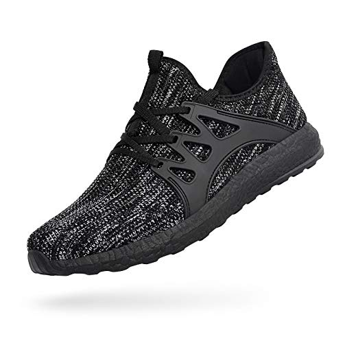 MARSVOVO Men's Sneakers Running Tennis Shoes Ultra Lightweight Air Knitted Breathable Mesh Fashion Athletic Gym Sports Non Slip Casual Walking Shoes Gray Black Size 9.5