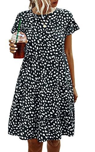 Spec4Y Damen Tunika Kleid Polka Dot Blumen Sommerkleid Kurzarm Rüschenärmel Babydoll T-Shirt Kleider Lose Plissee Minikleid 2006 Dunkelblau Medium