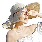 Milopon Cappello di sole cappello spiaggia cappello di paglia traveller cappello estivo per ragazze giovani Viaggi di paglia Cooler e Modischer klappbare Hut contro il sole in estate, Beige, 56-58cm