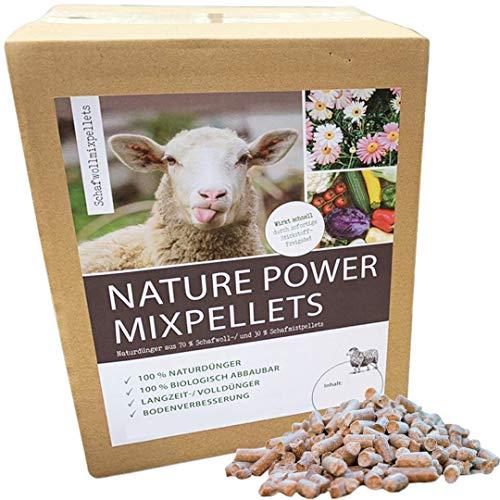 Nature Power Mixpellets 70% Schafwollpellets 30% Schafmistpellets 5000g / 5kg Biologischer Naturdünger Universal Obstdünger Pflanzendünger Gemüsedünger Langzeitdünger Kräuterdünger
