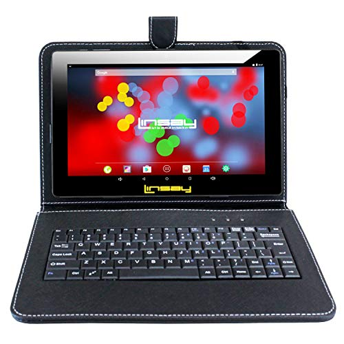 """LINSAY 10.1"""" 1280x800 IPS Screen Quad Core Tablet 16GB with Black Keyboard Case"""