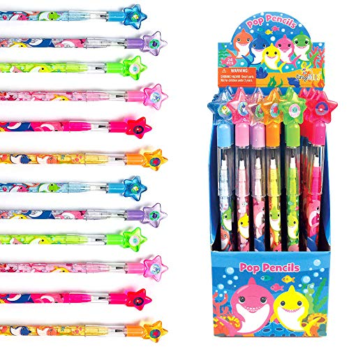 TINYMILLS 24 Pcs Shark Family Multi Point Stackable Push Pencil Assortment with Eraser for Shark Birthday Party Favor Prize Carnival Goodie Bag Stuffers Classroom Rewards Pinata Fillers