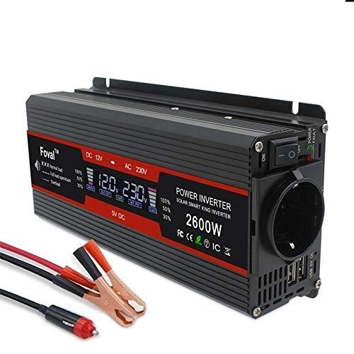 Inversor 1500W / 2000W / 2600W de potencia del inversor de onda sinusoidal modificada Pantalla DC 12V a 220V AC solar 2 del coche del USB del transformador Convertir Socket Inversores de corriente