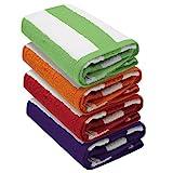 Lot de 4 serviettes de plage Cabana à rayures - 76 x 152 cm - 100 % coton filé à l'anneau - Poids lourd (450 g/m²) et très absorbant (rouge, violet, vert et orange)