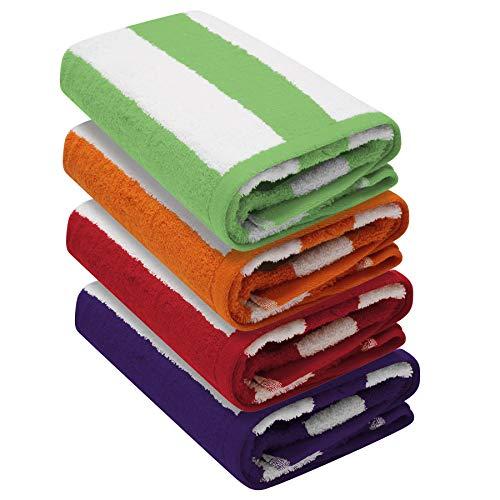 Cabana Stripe - Juego de 4 toallas de playa (76 x 152 cm), 100% algodón hilado en anillo, peso pesado (450 g/m²) y altamente absorbente (rojo, morado, verde y naranja)