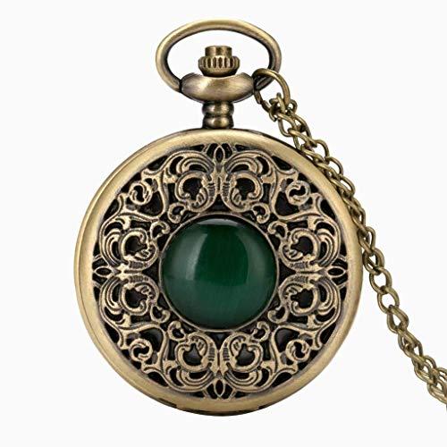 XXCHUIJU Retro Steampunk Hueco Verde Cristal Emeralda Imitación Piedra Cuarzo Reloj Collar Cadena Colgante Relojes Hombres Mujeres Regalos