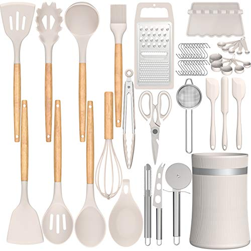 Silicone Cooking Utensils Kitchen Utensil Set, AIKKIL 32pcs Non-stick Kitchen Cooking Utensil Spatula Set with Holder, Heat Resistant Wooden Handle Khaki Kitchen Gadgets Tools Set