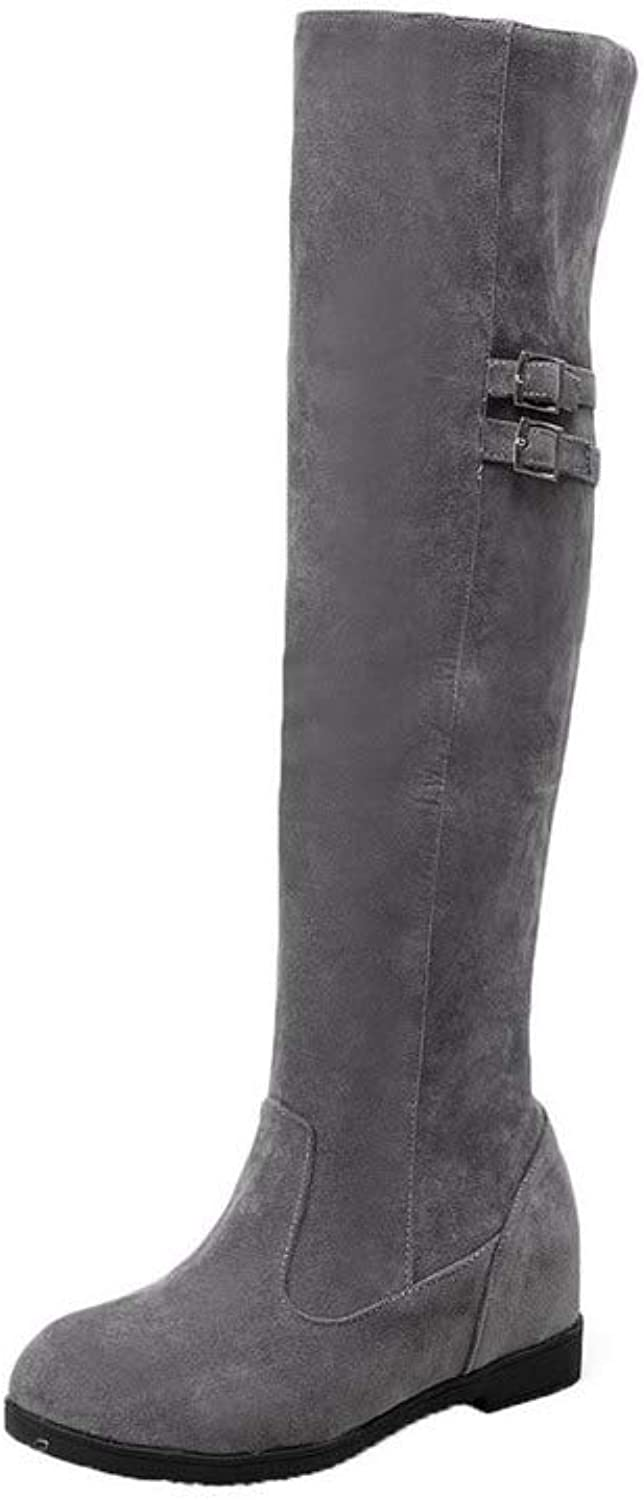 WeiPoot Women's Frosted Knee-High Solid Pull-On Kitten-Heels Boots, EGHXH112810