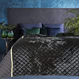 Eurofirany Hochwertige Tagesdecke Velvet Samt Gesteppter Bettüberwurf Silber Blau Steppung Ganzjährig Samt Steppdecke Quilt (Kristin Schwarz, 220 cm x 240 cm)