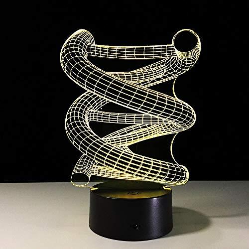 Resumen ADN Bombilla espiral Accesorio Novedad Gradiente Durmiendo 3D LED Luz de noche Lámpara de mesa Mesita de noche Decoración Regalo de niños