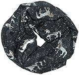 thb Richter Loopschal Meliert Schlauchschal mit Einhorn Unicorn Muster Pferd Horse Metallic Aufdruck...